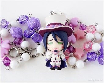 Ao No Exorcist Mephisto Pheles Beaded Necklace, Purple, Cream, Pink, Anime Jewelry, Otaku, Sweet Lolita