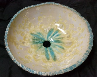 "READY TO SHIP Geode Modern Rock White Gold Turquoise Black Glazed Porcelain Vessel Sink 15 1/2"" Diameter"
