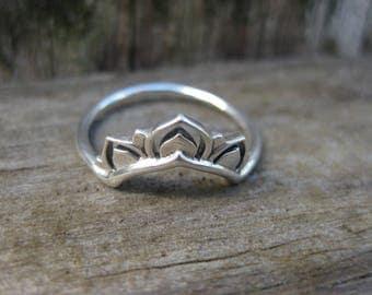 sterling silver LOTUS blossom ring yoga bohemian boho gypsy