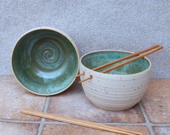Pair of noodle or rice serving bowl hand thrown in stoneware ceramic pottery wheelthrown handmade