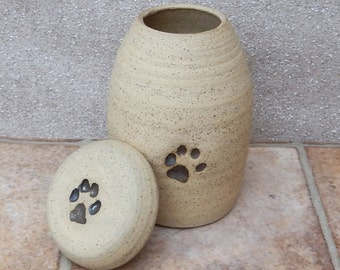 Pet urn cremation ashes hand thrown jar in stoneware handmade pottery ceramic