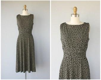 Vintage Midi Dress   Polka Dot Dress   Jersey Dress   1990s Dress   90s Dress   Black Jersey Dress