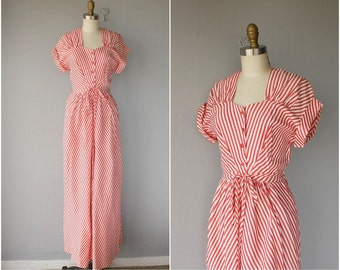 1940s Maxi Dress | 40s Striped Dress | 1940s Dress | 40s Dress | 40s Day Dress | 1940s Gown