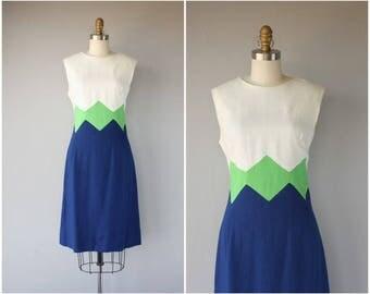 Vintage 1960s Mod Dress | 1960s Dress | 60s Dress | 1960s Day Dress | 60s Color-blocked  Dress | 1960s Linen Dress - (medium)