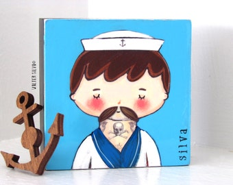 Sailor Doodle Mixed Media Painting - Tattooed Sailor Painting