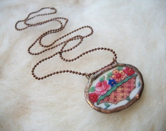 Broken China Necklace with Handmade Bezel Vintage Flower Basket and Tiny Copper Ball Chain Floral Broken China Plates and Cups Mosaic