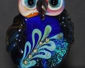 Decorative Lampwork Owl Focal : INDIGO  - SRA Lorraine Dowdle