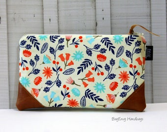 READY To SHIP - Coral and Navy Floral with Vegan Leather - Zippered Clutch / Pouch - Accessory Make Up Bag -