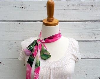 Skinny Scarf, Pink Floral Skinny Scarf, Neck Tie for Women, Long Pink Scarf, Floral Scarf, Choker Scarf, Head Wrap, Spring Scarf. Jannysgirl