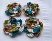 Crochet motif set of 4 flowers 1.5 inch bravo embellishment crochet flower