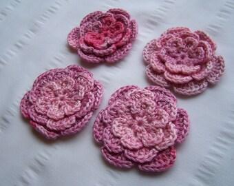Crochet motif flower 2.5 inch pink set of 4 flowers Clearance