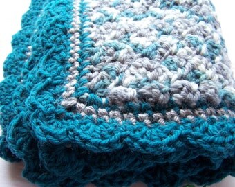 Teal baby blanket 18x22 inch crochet gift hand made ready to ship baby shower blanket gift under 50