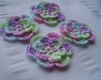 Crochet motif set of 4 flowers 1.5 inch Easter eggs