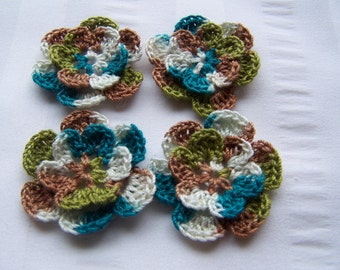 Crochet motif set of 4 flowers 1.5 inch bravo embellishment crochet flower