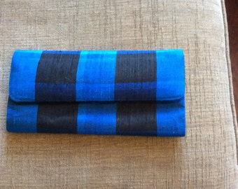 Vintage silk buffalo plaid clutch in black and cobalt blue  10 x 5