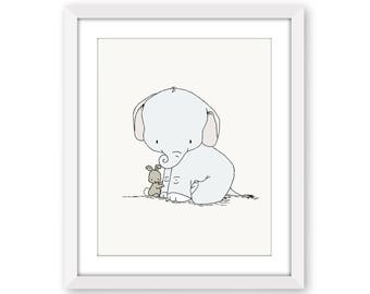 Elephant and Bunny Nursery Art -- Little Hugs -- Elephant and Bunny --  Nursery Art Print -- Nursery Decor-- Children Art, Kids Wall Art