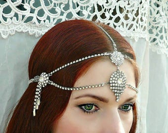 Silver Art Deco Crystal Headpiece w/ Vintage Rhinestones - Handmade One of a Kind Bridal Headdress for 1930s 1920s Wedding, Dance, Formal