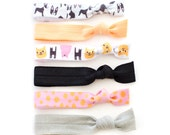 The Best Friend Hair Tie Package - Cat and Dog Illustrations by Eva Stalinski  - Elastic Ponytail Holders by Mane Message on Etsy