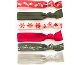 The Night Before Hair Tie Package - Snowflake Holly Mistletoe - Red Green - Elastic Ponytail Holder that Double as Bracelets by Mane Message