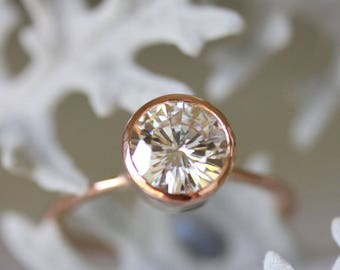 7.5mm Forever One Moissanite 14K Rose Gold Engagement Ring, Stacking Ring, Eco Friendly, Recycled Gold, Round Moissanite - Made To Order
