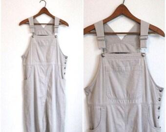 ON SALE 90s Overall Dress, Dress with Suspenders, Jumper Dress, Bib Front Dress Normcore Beige Dress, Bib Dress, Oversize, Medium Large Cord