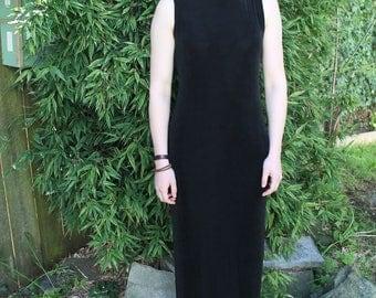 90s Maxi Dress, Turtleneck Dress, Black Mock Neck Dress, Long Tight Dress, Minimalist, Sleeveless Dress, Grunge, Goth, Tight Maxi Dress Norm