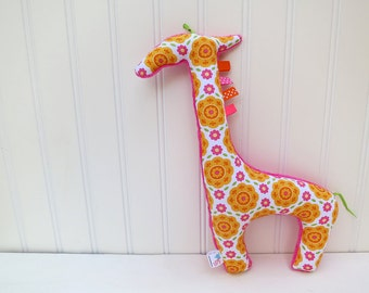 Plush Giraffe Stuffed Animal Floral Orange Pink Ready to Ship