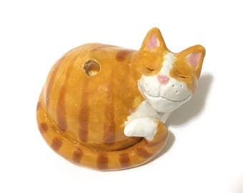 Cat Cake Topper Keepsake, Orange Tabby Cat Sculpture, Cat with Candle Cake Topper