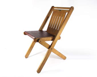 Vintage Wooden Folding Chair made by Michigan Youth - National Youth Administration