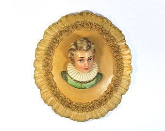 Vintage French Renaissance Boy Wall Sculpture - Chalkware Cameo Plaque - Signed MCL