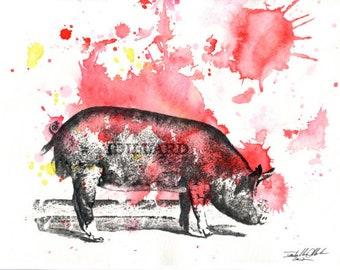 Pig Animal Art Print Watercolor Painting 8 X 10 in. Animal Art print Kitchen Decor Great  Kitchen Wall Art Bright Wall Decor