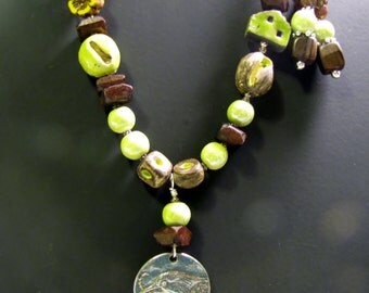 Green/Yellow/Brown Ceramic and Wood Bead Necklace and Earrings