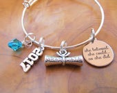 Class of 2017, GRADUATION - Adjustable Bangle Bracelet - She Believed She Could So She Did -  College, High School, Gift for Graduate