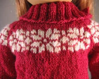 """Girl 18"""" Doll Clothes Red WhiteDesign Yoke Sweater Hand Knit fits 18"""" doll such as American"""