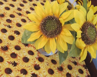 "Yellow Sunflower 54"" Table Runner Reversible Yellow Table Runner Summer Table Runner Fall Table Runner Sunflower Dresser Scarf Brown Decor"