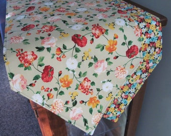 """Green and Orange Floral Table Runner 54""""-72"""" Reversible Orange and Yellow Table Runner Spring Table Runner Green Table Decor Dresser Scarf"""