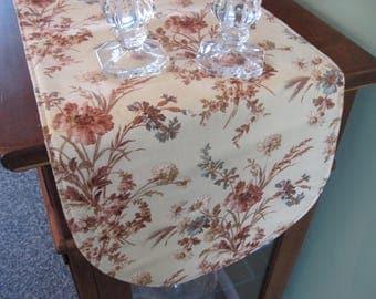 "Beige Floral Table Runner 36"" Reversible Neutral Floral Table Runner Beige and Mauve Runner Table Beige Table Decor  Tan Kitchen Linens"