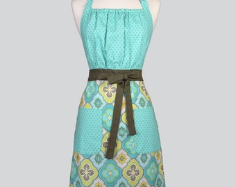Cute Kitsch / Retro Womens Apron in Aqua Tone on Tone Bodice and Coordinating Skirt Vintage Style Chef Gift Ideas for Her
