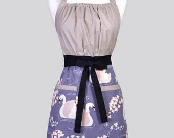 SALE Cute Kitsch Womens Apron / Organic Ollie the Swan Retro Vintage Style Kitchen Chef Cooking Apron with Pockets