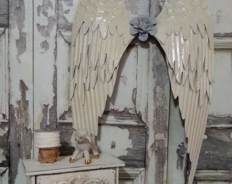 "Large Ivory, Metal Angel Wings, Art Wall Hanging Decor, Shabby Wings Victorian Angel Wings, Home Nursery Decor 25""x15"" / 3-5 Day Ship"