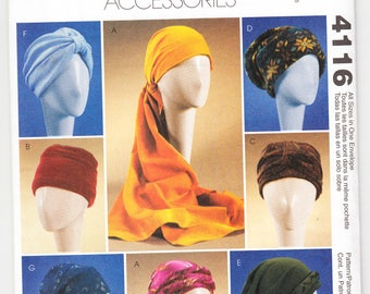 """2003 McCall's 4116 UNCUT Craft Sewing Pattern Turbans, Headwrap and Hats Size Small (21-1/2""""), Medium (22-1/2), Large (23-1/2"""")"""