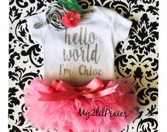 Baby Girl Take home outfit, tutu Bloomer, Onesie and Headband set- Hello World, Newborn baby Girl Onesie, Personalized Newborn Set.