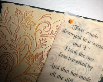 FROST'S ROAD ~ Inspirational handmade greeting card, quote by Robert Frost