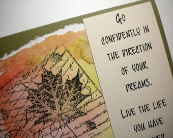 FOLLOW YOUR DREAMS ~ Watercolor Greeting Card with quote by Thoreau