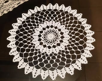 D-91 Round Lace White Crochet Doily Gift Large Crocheted Doily  Handmade Doily Crochet Home Decoration Crochet Table Decor Birthday gift