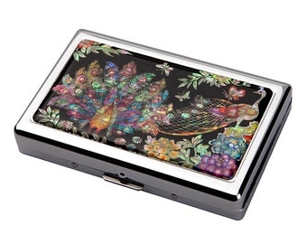 Mother of Pearl Peacock Pair 100S King Size 16 Cigarette Engraved Metal RFID Blocking Credit Business Card US Bill Cash Holder Case Storage