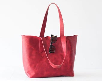 Red leather tote bag, raw edge leather purse shopper bag shoulder womens large market bag unlined leather tote  - Calisto bag