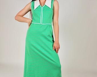 Vintage 70s Lime Green Maxi Dress