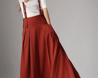 dark red skirt, linen skirt, maxi women skirt, custom made skirt, skirt with pockets, high waisted skirt, casual skirt, spring skirt (1035)