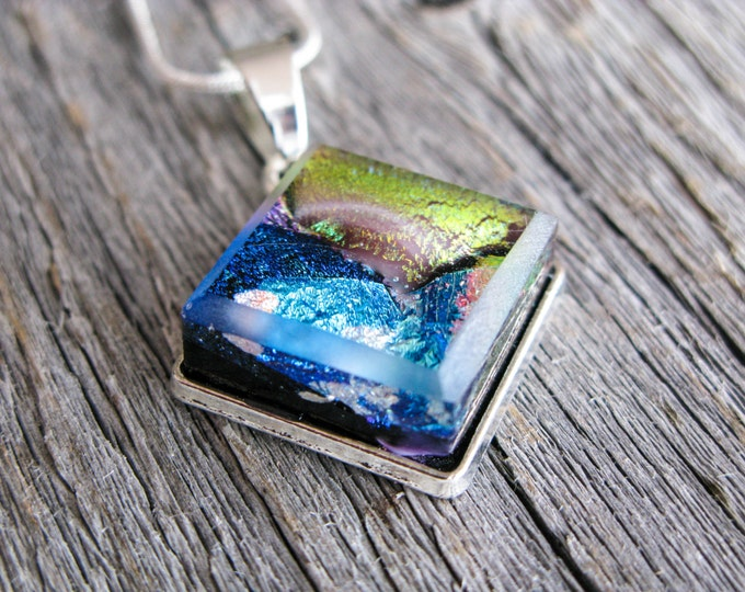 pendant necklace, dichroic glass, fused glass pendant, dichroic necklace, blue and gold, blue glass, blue necklace, gift for her